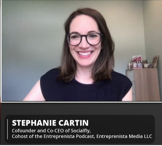screenshot of Stephanie Cartin from webinar presentation
